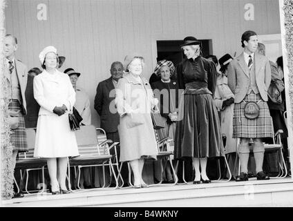 Queen Elizabeth II September 1983 with Prince Charles Princess Diana and The Queen Mum at the Braemar for the Highland - Stock Photo