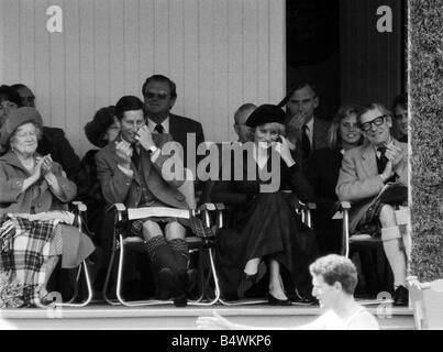 Prince Charles Princess Diana and The Queen Mum September 1987 Royalty at the Braemar for the Highland games - Stock Photo