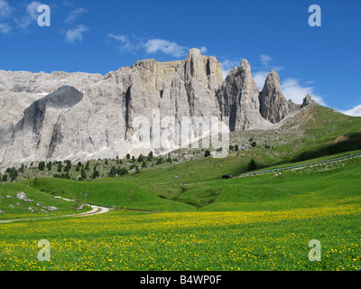 The Sella Group in the Dolomites, viewed from near Passo Sella, Italy - Stock Photo