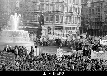 A demonstration in Trafalgar Square against US involvement in the Vietnam War leads to violence with 91 police injured - Stock Photo