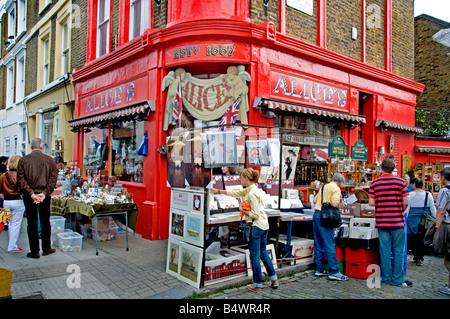 antique Portobello Road Market Notting Hill London - Stock Photo