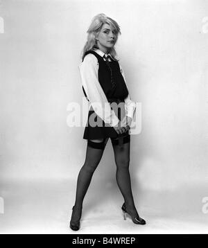 Debbie Harry Blondie singer dressed as schoolgirl 1978 weby - Stock Photo