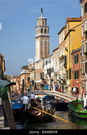 Pretty canal scene near the Academia Bridge in Venice Italy - Stock Photo