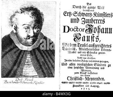 Faust, Johann Georg, 1480 - 1540, German magician, astrologer, mentalist, portrait and book title, Leipzig/Frankfurt - Stock Photo