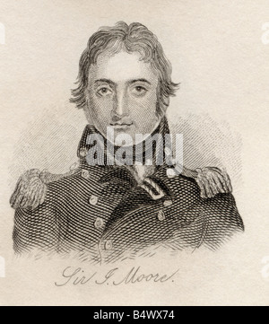 Sir John Moore 1761 to 1809 British soldier and General From the book Crabbs Historical Dictionary published 1825 - Stock Photo