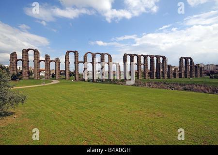 Part of ancient Roman Aqueduct Acueducto de los Milagros in Merida Extremadura Spain - Stock Photo
