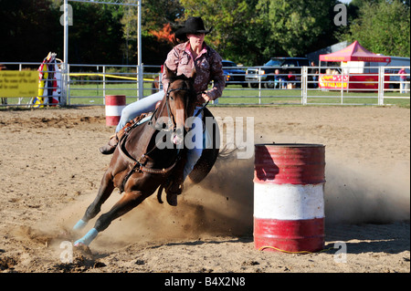 High School Boys and Girls Rodeo Competition Port Huron Michigan - Stock Photo