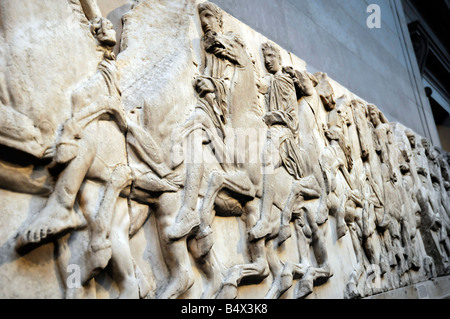 Part of the Parthenon Frieze. One of the Elgin Marbles in the British Museum. - Stock Photo