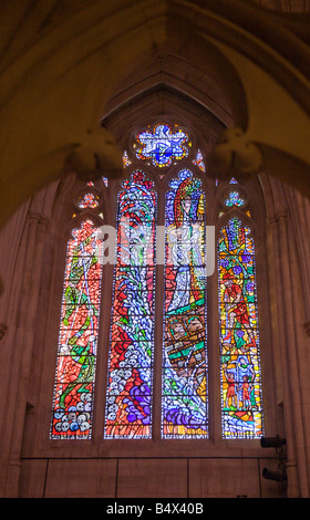 Stained glass window in the interior of the beautiful Episcopalian Washington National Cathedral in Washington, - Stock Photo