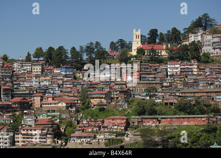 A View of Simla (Shimla), a Hill Station in North India from the High Court with Christ Church forming the Focus - Stock Photo