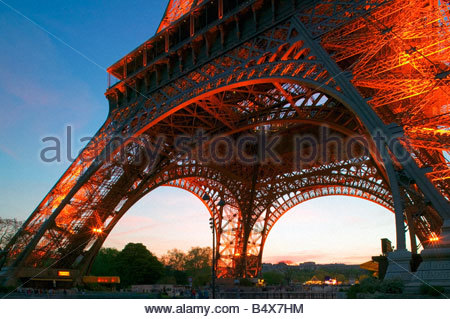 Eiffel Tower Paris France at twilight - Stock Photo