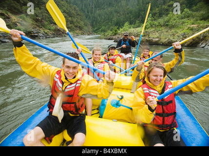 Group whitewater rafting - Stock Photo