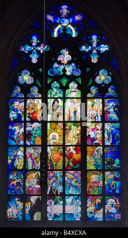 Interior view of cathedral window - Stock Photo