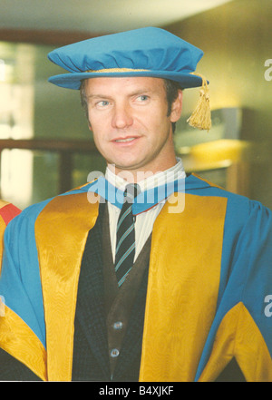 Lib Singer songwriter Sting receiving his Honorary Doctorate of Music from the University of Northumbria for his contribution to the arts and his influence on world ecology Pictured with his wife Trudie Styler 13th November 1992