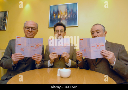Gilbert & George meet Daily Mirror features writer Damien Fletcher. Lunch is always at Meraz restaurant .;17th February - Stock Photo