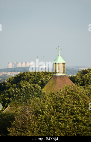 St. Paul's Church with the Ferry Bridge power station on the background, Cookridge, Leeds, West Yorkshire, UK, Europe - Stock Photo