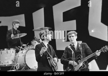 The Beatles in New York rehearse for their appearance on the Ed Sullivan TV Show George Harrison was bed ridden - Stock Photo