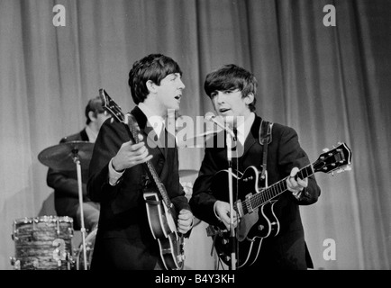 The Beatles rehearsing for the Royal Command performance at the London Paladium 4th November 1963 Paul McCartney - Stock Photo