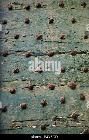 Bolts on wooden door, close-up - Stock Photo