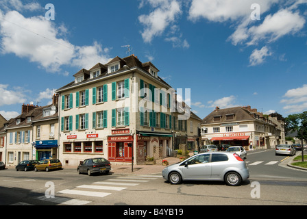 Traffic on the streets of the french town of Falaise Normandy France - Stock Photo