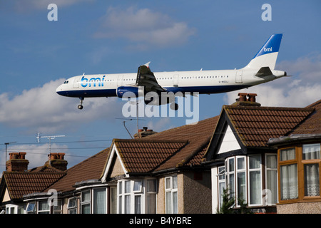 BMI Airbus A321-231 G-MEDJ approaching Heathrow airport, London. UK (41) - Stock Photo