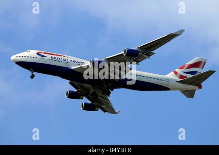 British Airways Boeing 747 436 G BNLL on approach to Heathrow 22 06 2008 Credit Garry Bowden - Stock Photo