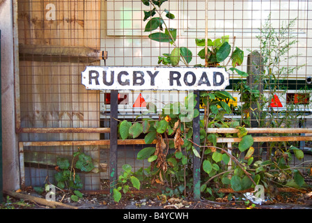 street sign for rugby road, close to the rugby stadium in twickenham southwest london, england - Stock Photo
