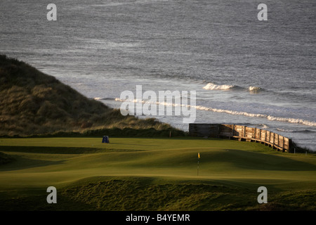 Green on the Royal Portrush championship links course on the north antrim causeway coast in northern ireland uk - Stock Photo