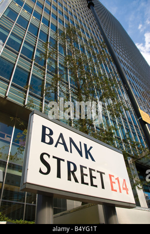 Lehman Brothers building London Bank Street Canary Wharf Docklands - Stock Photo
