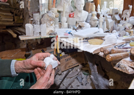 italy,tuscany,volterra,handicraft,alabaster - Stock Photo