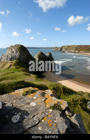 Three Cliffs Bay on the Gower Peninsula - Stock Photo
