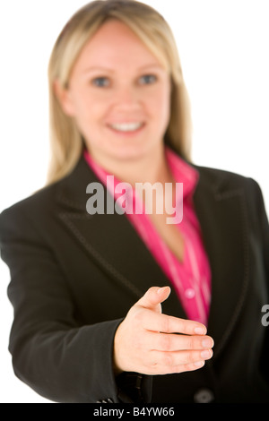 Businesswoman Holding  Her Hand Out Ready To Shake