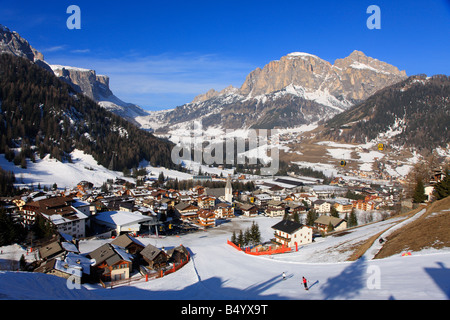 Village of Corvara in winter snow, Dolomites, Italy - Stock Photo