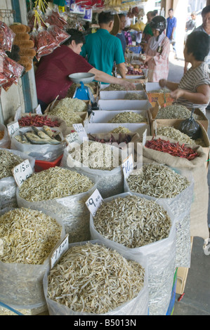 Dried fish for sale in the market in central Kuching Sarawak Malaysia - Stock Photo