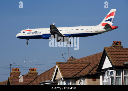 British Airways Airbus A321 plane landing at London airport. (41) - Stock Photo