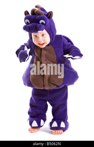 Young baby boy dressed in halloween party costume isolated on white background - Stock Photo