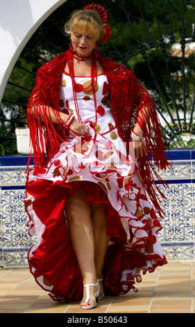 Beautiful middle aged Spanish woman costume, Andalucia, Spain, - Stock Photo