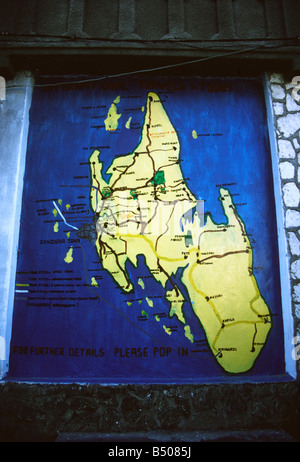 A map in the heart of Stone Town showing the main island of Zanzibar Unguja - Stock Photo
