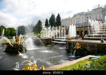 Aug 2008 - The Grand Cascade at Peterhof Palace, St Petersburg Russia - Stock Photo