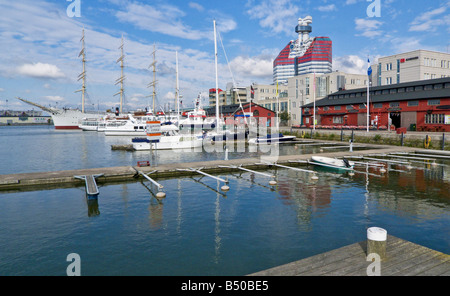Lilla Brommens harbour in Gothenburg with the Utkiken tower in the centre and sailing ship Viking to the left on - Stock Photo