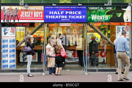 Leicester Square official half price theatre ticket booth London England UK - Stock Photo