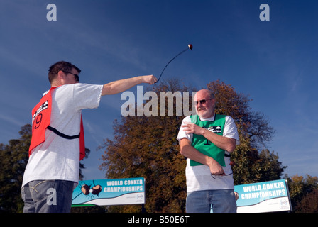 Ray Kellock Champion won winner 2010 & the 2008 World Conker Championships at Ashton Northamptonshire - Stock Photo