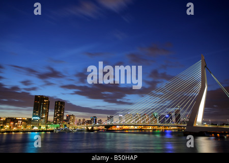 Erasmus bridge on Meuse river, Rotterdam - Stock Photo