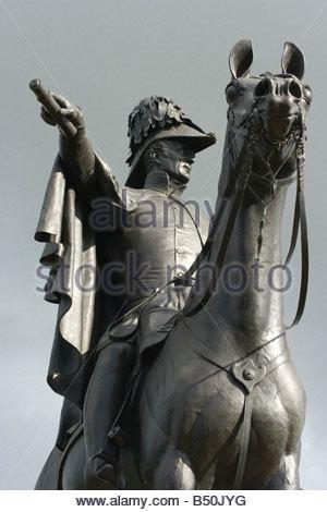 Statue of 1st Duke of Wellington Arthur Wellesley and his horse Copenhagen on Round Hill Aldershot England - Stock Photo