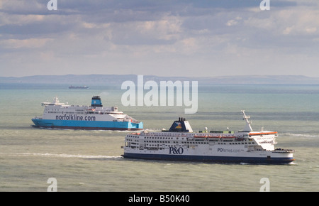 Two ferries crossing in the English Channel - Stock Photo