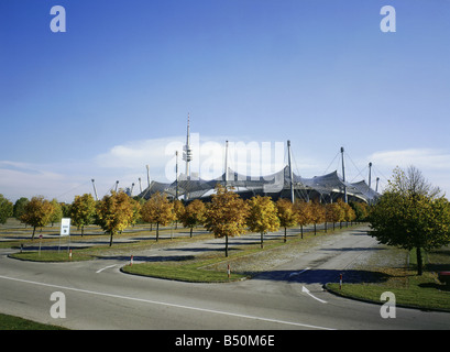 geography / travel, Germany, Bavaria, Munich, Olympic Grounds, Olympic stadium, exterior view, Additional-Rights - Stock Photo