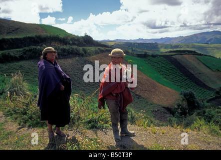 Couple agricultural fields near Zumbahua Cotopaxi Province Ecuador South America - Stock Photo