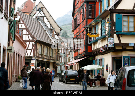 Sep 2008 - Street scene in Ribeauville village Alsace France - Stock Photo