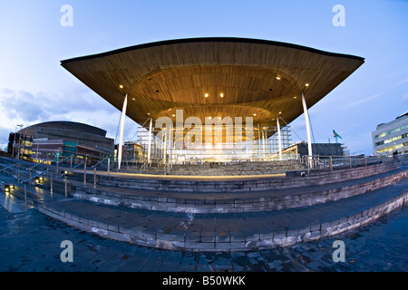wooden roof entrance porch for the National Assembly for Wales building the Senedd Cardiff Bay Wales UK - Stock Photo