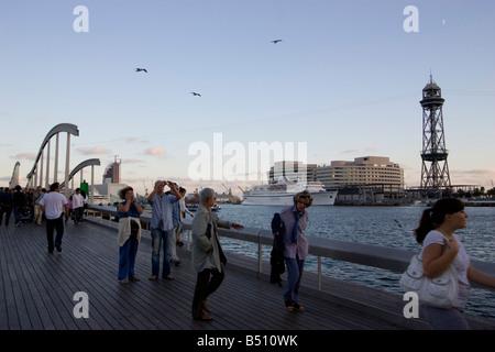 wooden bridge Rambla de Mar Port Vell Barcelona Spain - Stock Photo